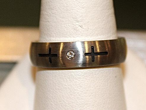 Men's Diamond Cross Titanium Band