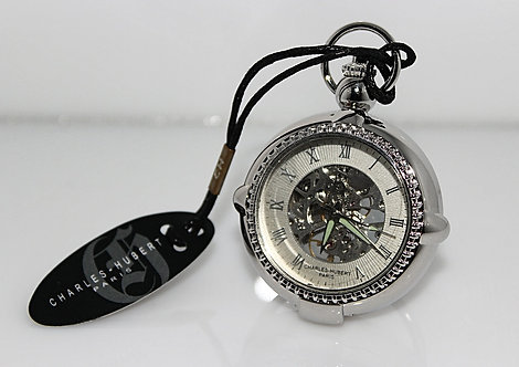 CH Silver Tone Pocket Watch With Stand