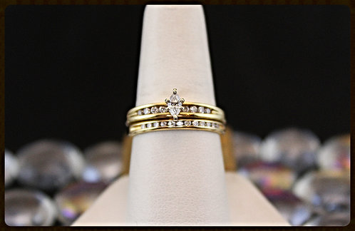 Gold Marquise Wedding Set