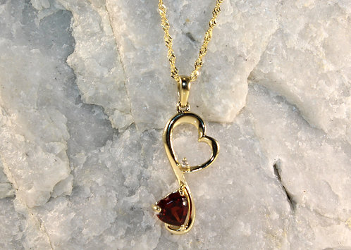 14 KT Gold Garnet Pendant with Diamond Accent