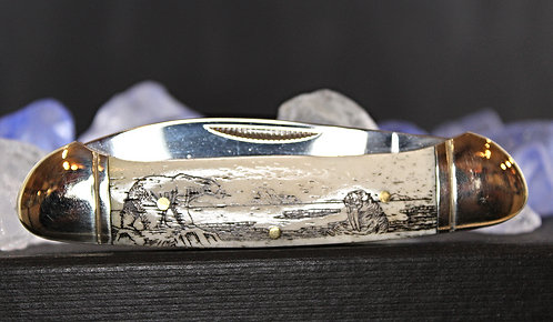 Alaskan Made Scrimshaw Knife-Bear & Walrus Design