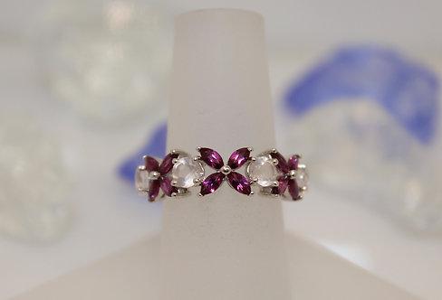 Sterling Silver Rhodolite Garnet Flower Ring