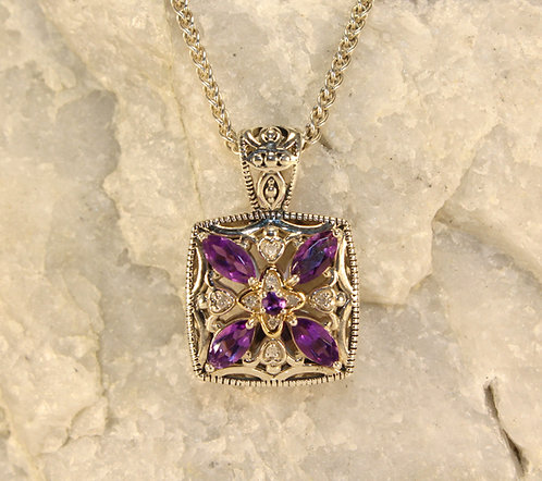 Sterling Silver Amethyst Pendant with Diamond/14 KT Gold Accents