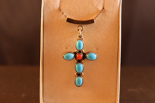 Turquoise Cross & Sterling Silver With Red Coral
