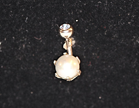 "Navel Bar/14K White Gold & Silver Pearl - 5/16"""