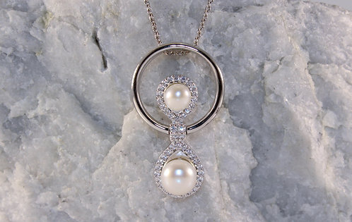 Sterling Silver Pearl Slider Pendant with Cubic Zirconia Accents