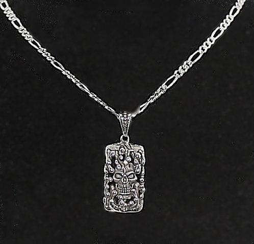 Sterling Silver Oblong Skull  Pendant & Chain