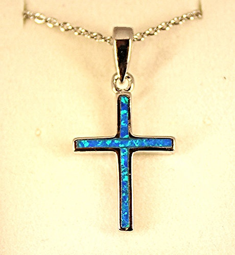 Sterling Silver Inlaid Cross With Lab Created Opal