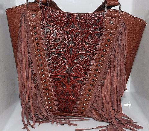 Concealed Gun Carry Brown Leather Handbag