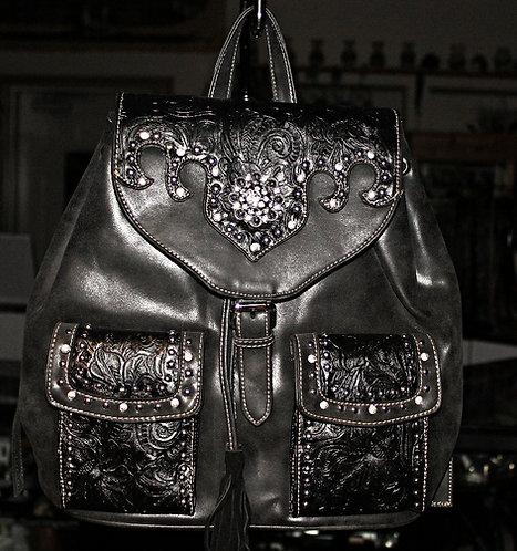 Montana West Black Leather/Crystal Handbag