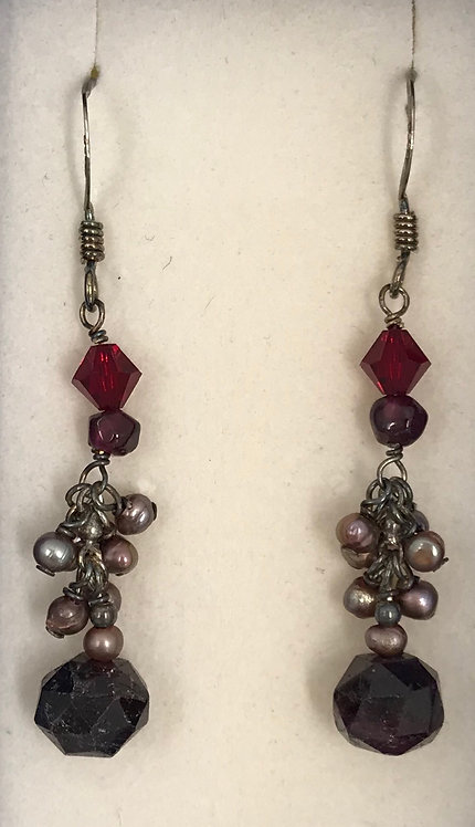 Sterling Silver Garnet Dangles with Freshwater Pearls