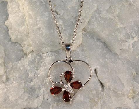 Sterling Silver Garnet Butterfly/Heart Pendant