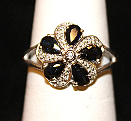Genuine Sapphire/Diamond Accents/Sterling Silver