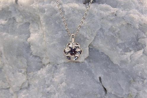 Sterling Silver Alexandrite Plumeria Flower Pendant