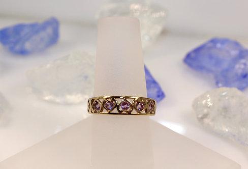 10 KT Gold Amethyst Heart Ring