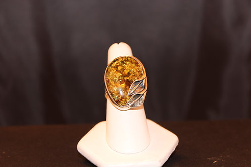 Amber  Ring With Leaf Design
