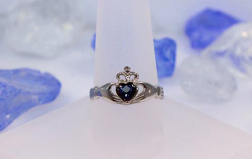 14 KT White Gold Mystic Topaz Claddagh Ring