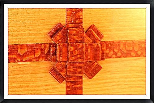 Oak Gift Box/Leopard Wood Ribbon & Bow-Hand Made