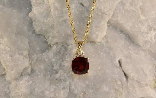 14 KT Gold Garnet Pendant with Diamond Accents