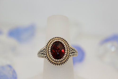 Sterling Silver Garnet Ring with Gold Accent