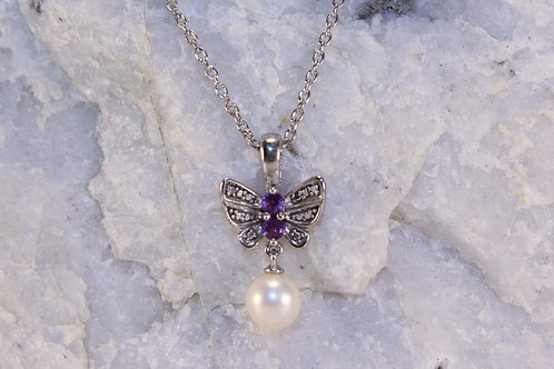 Sterling Silver Amethyst/Pearl Butterfly Pendant with Diamond Accents