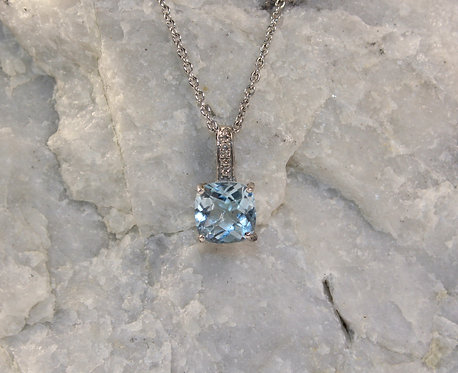Sterling Silver Aquamarine Pendant with Diamond Accent