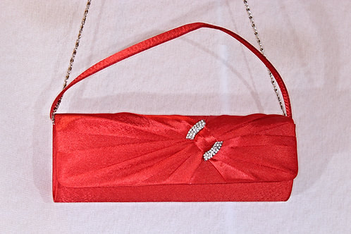 Red Satin /Swarovski Crystal Evening Bag-W1008RED