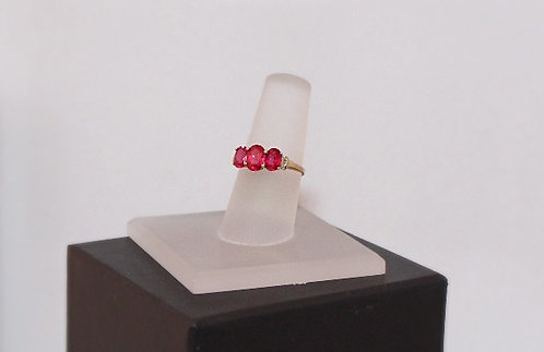 10KT Yellow Gold, Diamond & Lab Ruby Ring