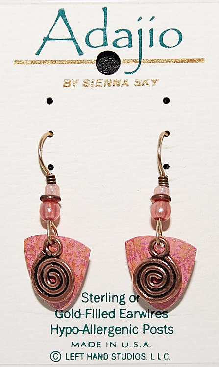 Adajio Pink/Swirl Beaded Earrings - P/N 7318