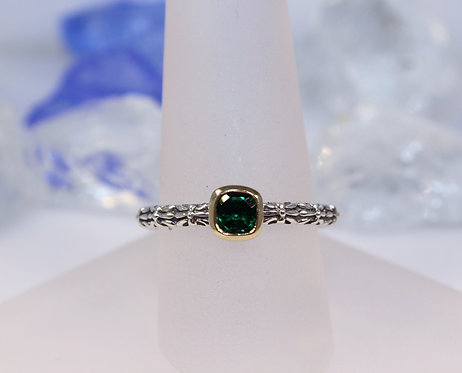 Sterling Silver Emerald Ring with Gold Accent
