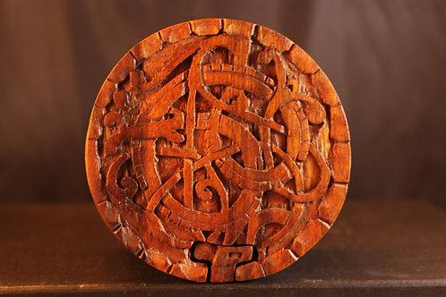 DPA Hand Made  Round Wood Puzzle Jewelry Box