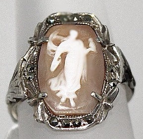 Cameo Ring With Marcasite Set In Sterling Silver