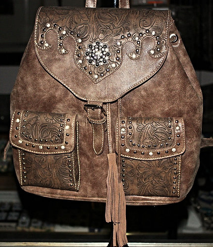 Montana West Brown Leather/Crystal Handbag