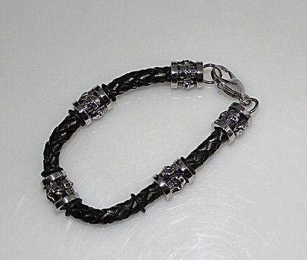 Steel And Leather Bracelet