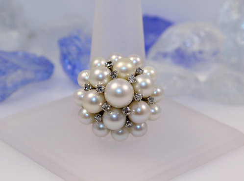 14 KT White Gold Pearl Cluster Ring with Diamond Accents