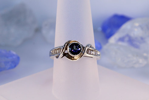 Sterling Silver Mystic Topaz Ring with Diamond Accents