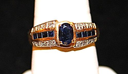 Genuine Sapphire/Diamond Ring In 14KT Gold