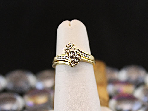 Wedding Set Marquise Center/Round Diamond Sides