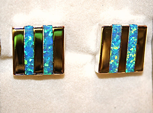 Sterling Silver Cuff Links With Opal Inlay