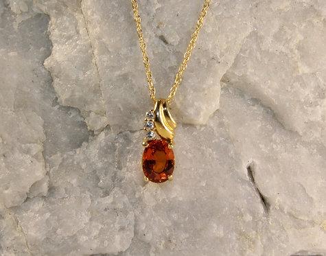 14 KT Gold Spessartine Garnet Pendant with Diamond Accents