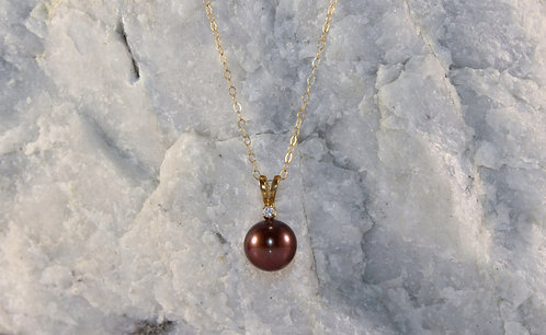 14 KT Gold Pearl Pendant/Earring Set with Diamond Accents