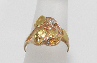 Alaskan Gold Nugget Ring With .10 Carat Diamond
