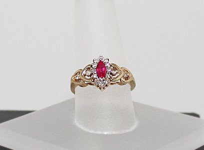 10KT Yellow Gold, Ruby & Diamond Ring