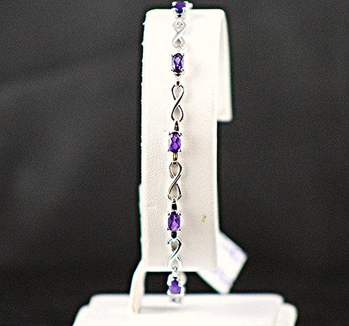Amethyst Sterling Silver Bracelet - Infinity Loop