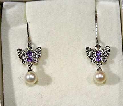 Amethyst, Silver & Pearl Butterfly Earrings