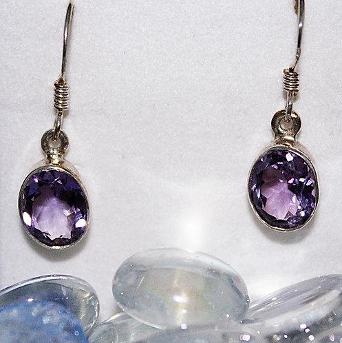 Bezel Set Amethyst & Sterling Silver Earrings