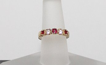 14KT Yellow Gold, Burmese Ruby & Diamond Ring