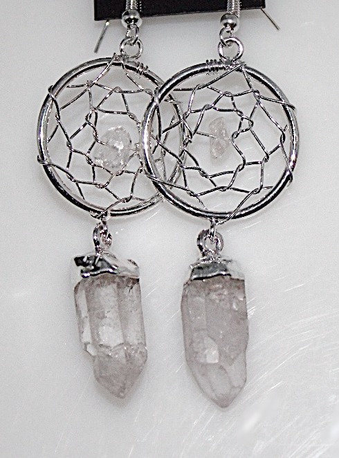 Quartz Dream Catcher Silver Tone Fashion Earrings