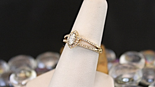 Gold Engagement Ring Halo Style .55 TW