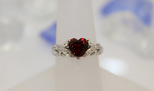 Sterling Silver Garnet Heart Ring with Diamond Accents